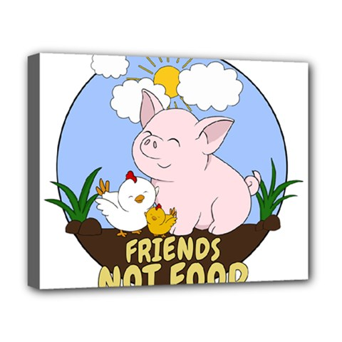 Friends Not Food - Cute Pig And Chicken Deluxe Canvas 20  X 16   by Valentinaart