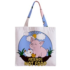 Friends Not Food   Cute Pig And Chicken Zipper Grocery Tote Bag by Valentinaart