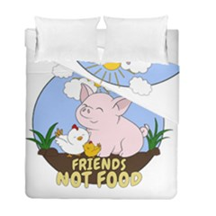 Friends Not Food   Cute Pig And Chicken Duvet Cover Double Side (full/ Double Size) by Valentinaart