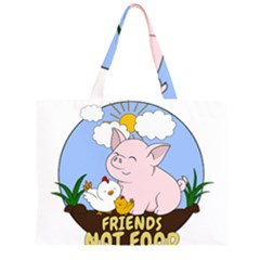 Friends Not Food   Cute Pig And Chicken Zipper Large Tote Bag