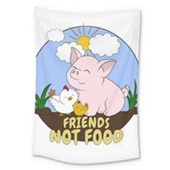 Friends Not Food   Cute Pig And Chicken Large Tapestry by Valentinaart