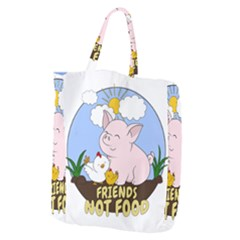 Friends Not Food   Cute Pig And Chicken Giant Grocery Zipper Tote by Valentinaart