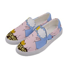 Friends Not Food   Cute Pig And Chicken Women s Canvas Slip Ons by Valentinaart