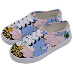 Friends Not Food   Cute Pig And Chicken Kids  Classic Low Top Sneakers by Valentinaart