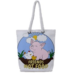 Friends Not Food   Cute Pig And Chicken Full Print Rope Handle Tote (small) by Valentinaart