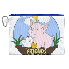 Friends Not Food   Cute Pig And Chicken Canvas Cosmetic Bag (xl) by Valentinaart