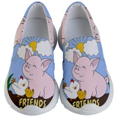 Friends Not Food   Cute Pig And Chicken Kid s Lightweight Slip Ons by Valentinaart