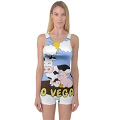 Friends Not Food   Cute Cow, Pig And Chicken One Piece Boyleg Swimsuit