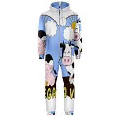Friends Not Food   Cute Cow, Pig And Chicken Hooded Jumpsuit (men)