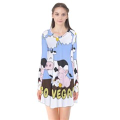 Friends Not Food   Cute Cow, Pig And Chicken Flare Dress