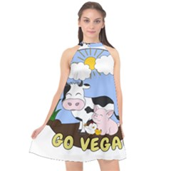 Friends Not Food   Cute Cow, Pig And Chicken Halter Neckline Chiffon Dress
