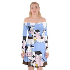 Friends Not Food   Cute Cow, Pig And Chicken Off Shoulder Skater Dress