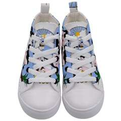 Friends Not Food   Cute Cow, Pig And Chicken Kid s Mid Top Canvas Sneakers