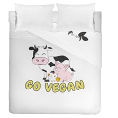 Friends Not Food   Cute Cow, Pig And Chicken Duvet Cover Double Side (queen Size) by Valentinaart