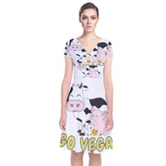 Friends Not Food   Cute Cow, Pig And Chicken Short Sleeve Front Wrap Dress by Valentinaart