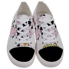 Friends Not Food   Cute Cow, Pig And Chicken Women s Low Top Canvas Sneakers