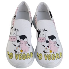 Friends Not Food - Cute Cow, Pig And Chicken Women s Lightweight Slip Ons