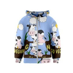 Friends Not Food   Cute Cow, Pig And Chicken Kids  Zipper Hoodie