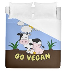 Friends Not Food   Cute Cow, Pig And Chicken Duvet Cover (queen Size) by Valentinaart