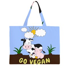 Friends Not Food   Cute Cow, Pig And Chicken Zipper Large Tote Bag by Valentinaart