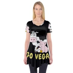 Friends Not Food   Cute Cow, Pig And Chicken Short Sleeve Tunic