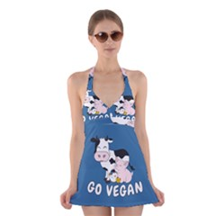 Friends Not Food   Cute Cow, Pig And Chicken Halter Dress Swimsuit