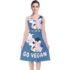 Friends Not Food   Cute Cow, Pig And Chicken V Neck Midi Sleeveless Dress