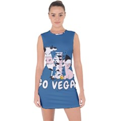 Friends Not Food   Cute Cow, Pig And Chicken Lace Up Front Bodycon Dress
