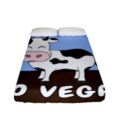 Friends Not Food - Cute Cow Fitted Sheet (full/ Double Size) by Valentinaart