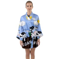 Friends Not Food   Cute Cow Long Sleeve Kimono Robe by Valentinaart