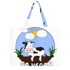 Friends Not Food   Cute Cow Zipper Large Tote Bag