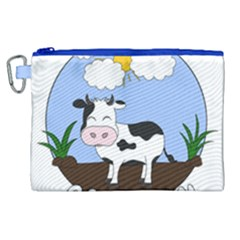 Friends Not Food   Cute Cow Canvas Cosmetic Bag (xl) by Valentinaart