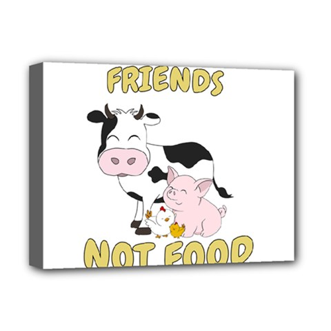 Friends Not Food   Cute Cow, Pig And Chicken Deluxe Canvas 16  X 12   by Valentinaart