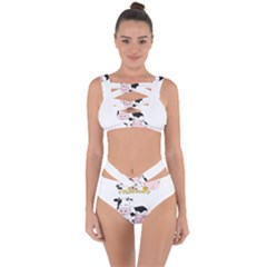 Friends Not Food   Cute Cow, Pig And Chicken Bandaged Up Bikini Set
