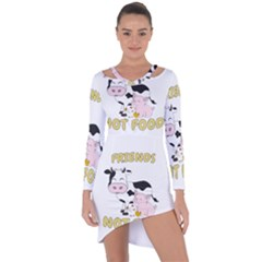Friends Not Food   Cute Cow, Pig And Chicken Asymmetric Cut Out Shift Dress