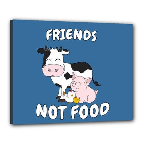 Friends Not Food   Cute Cow, Pig And Chicken Canvas 20  X 16  by Valentinaart