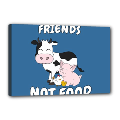Friends Not Food   Cute Cow, Pig And Chicken Canvas 18  X 12  by Valentinaart