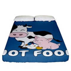 Friends Not Food   Cute Cow, Pig And Chicken Fitted Sheet (king Size) by Valentinaart