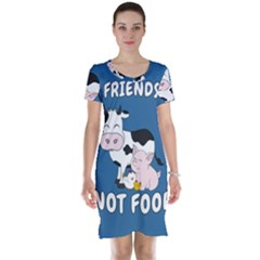 Friends Not Food - Cute Cow, Pig And Chicken Short Sleeve Nightdress