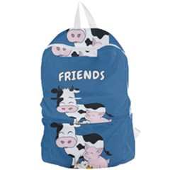 Friends Not Food - Cute Cow, Pig And Chicken Foldable Lightweight Backpack by Valentinaart