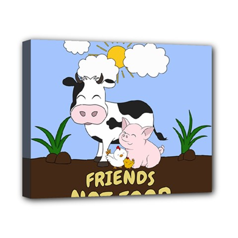 Friends Not Food   Cute Cow, Pig And Chicken Canvas 10  X 8  by Valentinaart