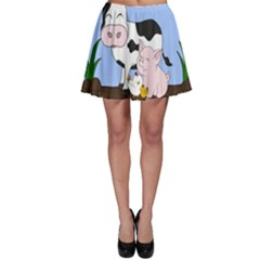 Friends Not Food   Cute Cow, Pig And Chicken Skater Skirt