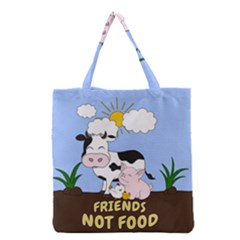 Friends Not Food   Cute Cow, Pig And Chicken Grocery Tote Bag