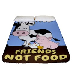 Friends Not Food   Cute Cow, Pig And Chicken Fitted Sheet (queen Size) by Valentinaart