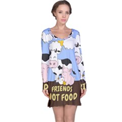 Friends Not Food   Cute Cow, Pig And Chicken Long Sleeve Nightdress by Valentinaart