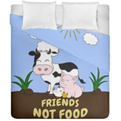 Friends Not Food - Cute Cow, Pig And Chicken Duvet Cover Double Side (california King Size) by Valentinaart