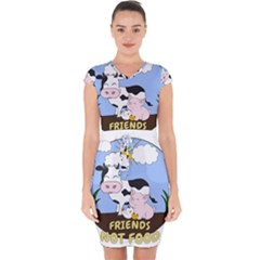 Friends Not Food - Cute Cow, Pig And Chicken Capsleeve Drawstring Dress  by Valentinaart