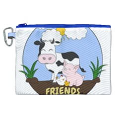 Friends Not Food   Cute Cow, Pig And Chicken Canvas Cosmetic Bag (xl)