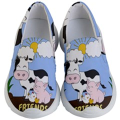 Friends Not Food   Cute Cow, Pig And Chicken Kid s Lightweight Slip Ons by Valentinaart