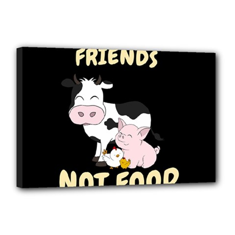 Friends Not Food   Cute Cow, Pig And Chicken Canvas 18  X 12